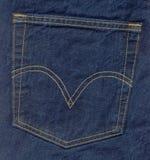 Blue jeans pocket. Close up of dark blue jeans back pocket stock photo