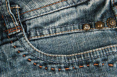 Blue jeans pocket. Background close up Royalty Free Stock Photo