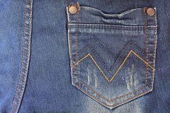 Blue jeans pocket. Stock Photos