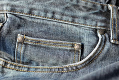 Blue jeans pocket close up. Royalty Free Stock Photos