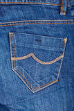 Blue jeans pocket. Close up photo of blue jeans pocket royalty free stock photos