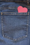 Blue Jeans Pocket with Heart Stock Photo