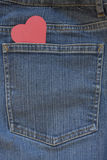 Blue Jeans Pocket with Heart Royalty Free Stock Photography