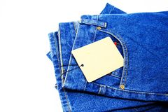 Blue jeans pocket isolated on the white background. Blue jeans pocket new fashion style isolated on the white background Royalty Free Stock Photo