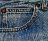 Blue jeans pocket. Blue jeans texture with close-up pocket and button Stock Photo