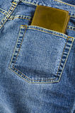 Blue jeans pocket with wallet Stock Photo