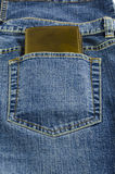 Blue jeans pocket with wallet Royalty Free Stock Photo