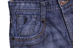 Blue jeans. Pocket on white background Stock Images