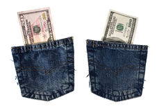 Blue jeans pockets with dollars. Royalty Free Stock Photos