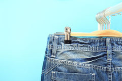 Blue jeans on a rack Royalty Free Stock Photo