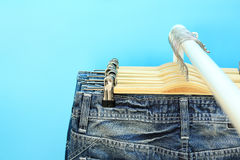 Blue jeans on a rack Royalty Free Stock Photos