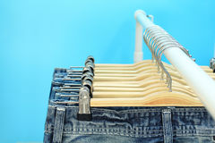 Blue jeans on a rack Royalty Free Stock Photography
