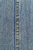 Blue jeans with seam, denim texture background, close up. Stock Images