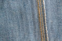 Blue jeans seam macro texture for denim background Royalty Free Stock Photo