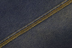 Blue jeans sew closeup texture. Stock Image