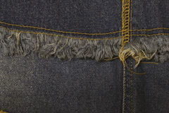 Blue jeans sew closeup texture. Royalty Free Stock Photo