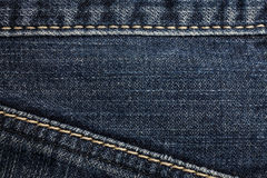 Blue jeans sewing line Royalty Free Stock Photo