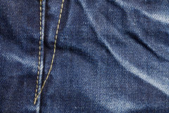 Blue jeans sewing line Stock Photo