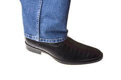 Blue jeans and shoe Stock Photo