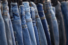 Blue jeans in a shop Royalty Free Stock Photo
