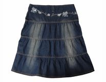 Blue jeans skirt. stock photography