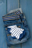 Blue jeans with socks Royalty Free Stock Photography