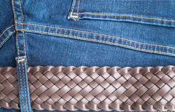 Blue Jeans and Stitches Texture Royalty Free Stock Photos