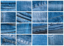 Blue Jeans and Stitches Texture. Denim Background with Seam Stock Image