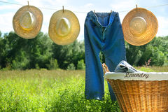 Blue jeans and straw hats on clothesline Royalty Free Stock Photography
