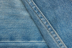 Blue jeans surface with stiches Royalty Free Stock Image