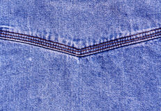 Blue jeans surface with stitch. Stock Photos