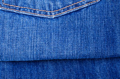 Blue jeans texture. The delayed pocket of dark blue jeans a background Royalty Free Stock Photography