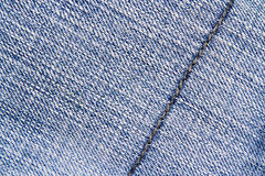 Blue jeans texture background and seam for text area Royalty Free Stock Photo