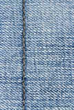 Blue jeans texture background and seam for text area Royalty Free Stock Photos