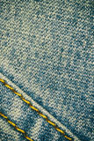 Blue jeans texture background and seam for text area Stock Image