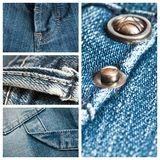 Blue jeans texture collage. Collection of blue jeans texture collage Stock Image