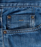 Blue jeans texture with pocket Royalty Free Stock Photography