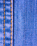 Blue jeans texture with stitch. Close up Royalty Free Stock Image