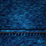 Blue Jeans Texture. Vector - Dark blue Jeans Texture with seam Stock Photo
