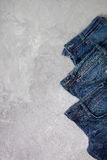 Blue jeans top view Royalty Free Stock Photos