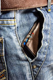 Blue jeans trouser with Wallet Royalty Free Stock Image