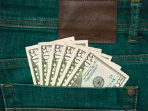 Blue jeans trousers pocket 50 american dollars royalty free stock image