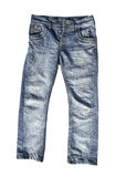 Blue jeans trousers on white background Royalty Free Stock Photo