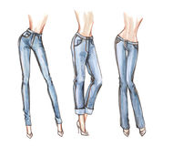 Blue jeans watercolor illustration Stock Photo