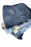 Blue jeans on white Royalty Free Stock Photography