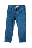 Blue jeans on white close up Royalty Free Stock Image