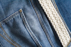 Blue jeans and white woven belt. Men`s casual outfits Stock Photography
