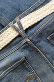 Blue jeans and white woven belt. Men`s casual outfits Royalty Free Stock Photo
