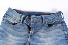 Blue jeans in whitebackground. Blue jeans on white background Royalty Free Stock Photo