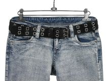 Blue Jeans With Black Leather Belt Royalty Free Stock Photography